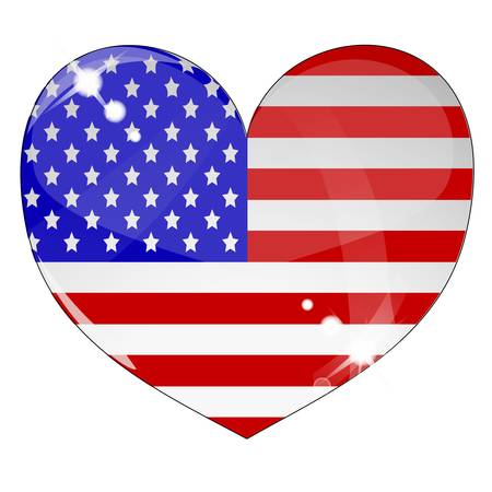Heart with US flag texture isolated Illustration