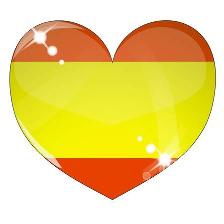 Vector heart with Spain flag texture Illustration