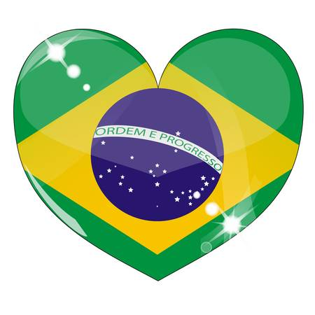 brazil symbol: Vector heart with brazil  flag texture