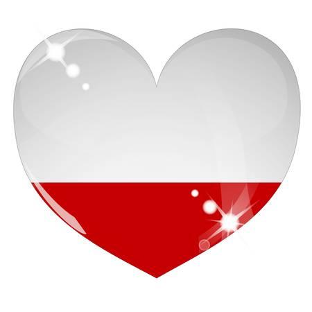 bandera de polonia: Coraz�n de vector con textura de bandera de Polonia