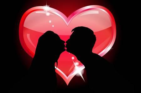 siluetas de enamorados: Siluetas de los amantes bes�ndose Vectores