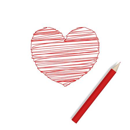 Big pencil drew a heart Stock Vector - 8519228
