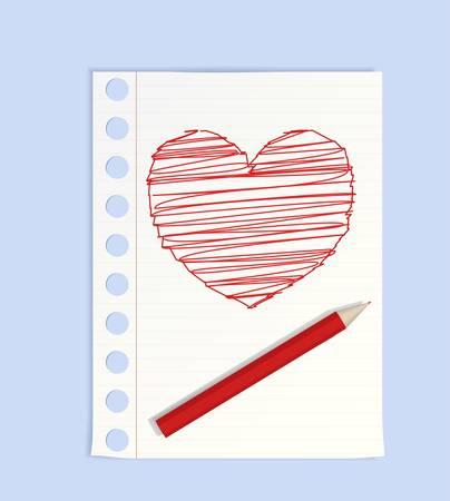 Big pencil drew a heart