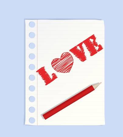 Big pencil drew a heart Stock Vector - 8519223