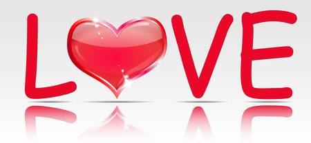 Word love with a heart of glass instead of O.