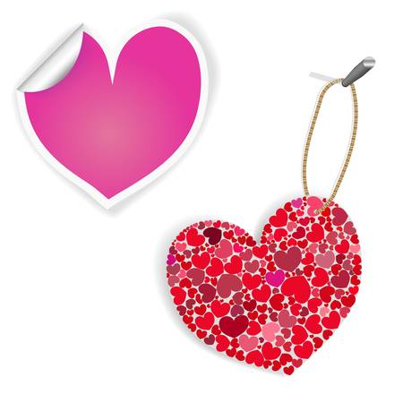Pink And White Heart Labels Illustration