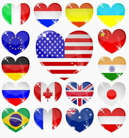 set from the hearts of flags Stock Vector - 8570625