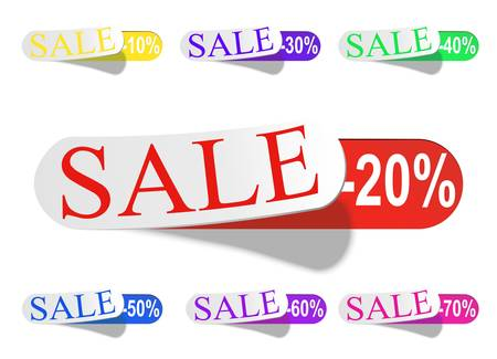 Glossy Retail Sticker Set: Sell And Discount Illustration