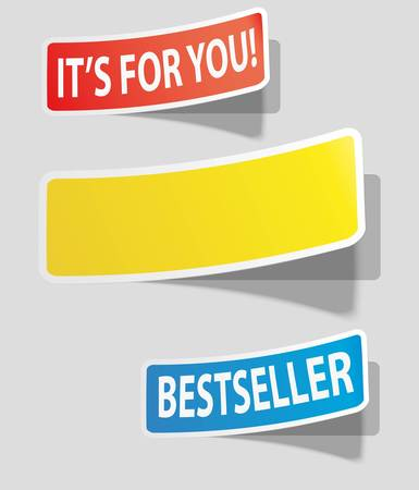 out of order: Three realistic colorful sticker for your text.