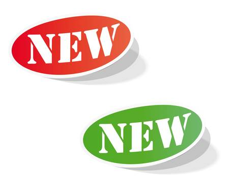 new arrow: Oval colorful labels with the words NEW
