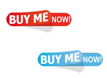 color labels with the inscription buy me now!