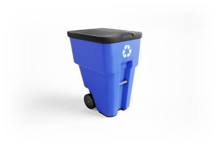 Blue plastic garbage bin with recycling logo, isolated on white background Zdjęcie Seryjne