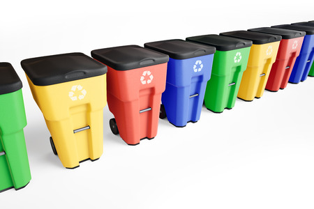 Colorful plastic trash bins set in a row. White background