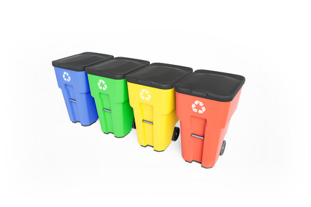 Four colorfull plastic garbage bins with recycling logo, staked on row. Isolated on white background