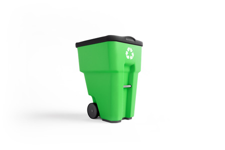 Green plastic garbage bin with recycling logo, isolated on white background