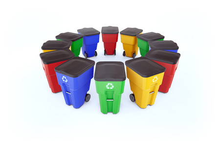 Many color plastic garbage bins with recycling logo. Isolated on white background, staked on circle