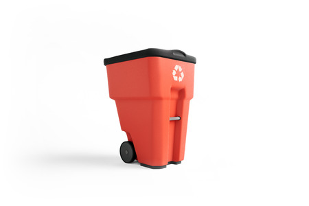 Red plastic garbage bin with recycling logo, isolated on white background