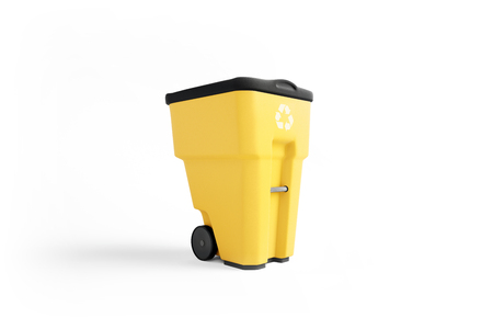 Yellow plastic garbage bin with recycling logo, isolated on white background Zdjęcie Seryjne