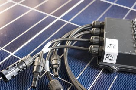 photoelectric: solaredge, solar panel power optimizer close up, solar cells background Editorial
