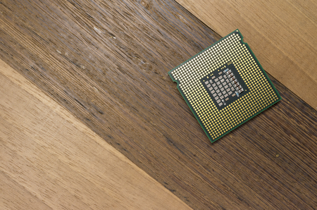 intel: Milan, Italy - August 12, 2014: Intel Core 2 Quad cpu back, close up on a white background