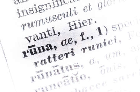 latin language: latin language - runa, ae - rune, runic