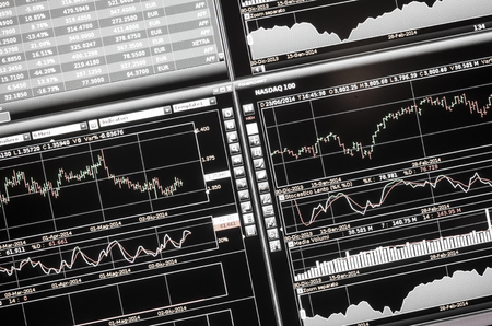 financial markets and trading concept, computer screen charts
