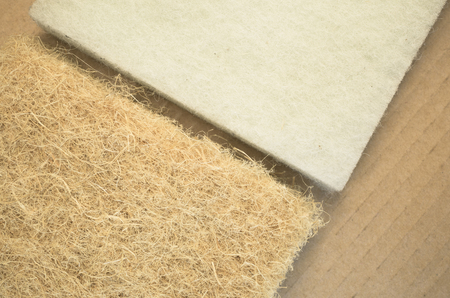 synthetic fiber: thermal insulating hemp and synthetic fiber panels front view, close up Stock Photo