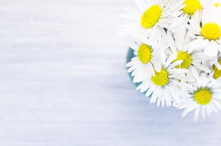 p�querette: marguerites fleurs bouquet sur un fond de bois pastel