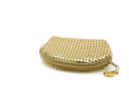 clutch bag: little feminine golden clutch bag isolated on a white background