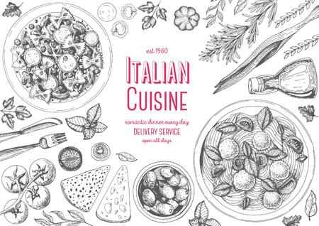 Italian cuisine top view frame. Italian food menu design. Vintage hand drawn sketch illustration.  イラスト・ベクター素材