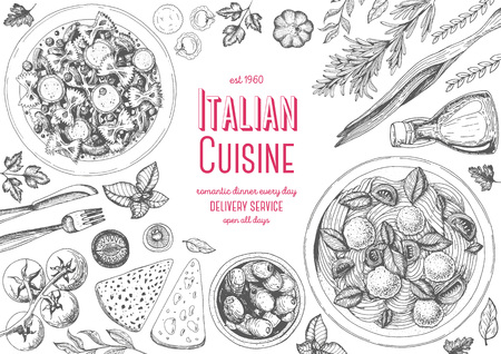 Italian cuisine top view frame. Italian food menu design. Vintage hand drawn sketch illustration. Ilustração