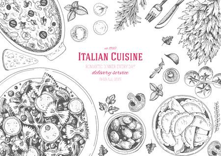 Italian cuisine top view frame. Italian food menu design. Vintage hand drawn sketch illustration. Ilustracja