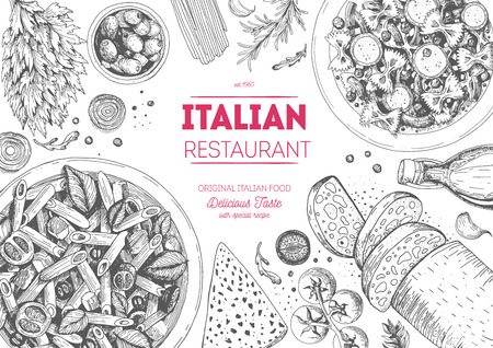 Italian cuisine top view frame. Italian food menu design. Vintage hand drawn sketch illustration.  イラスト・ベクター素材