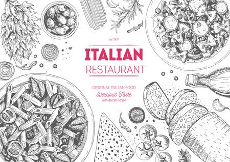 Italian cuisine top view frame. Italian food menu design. Vintage hand drawn sketch illustration. Illustration