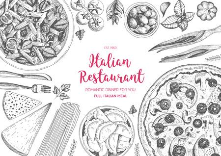 Italian cuisine top view frame. Italian food menu design. Vintage hand drawn sketch illustration. Иллюстрация