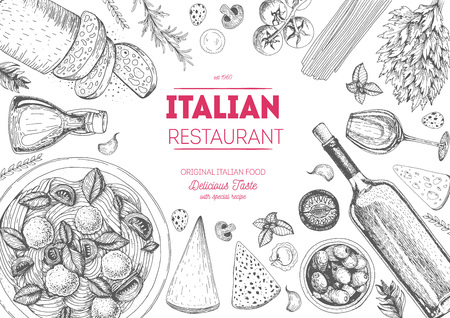 Italian cuisine top view frame. Italian food menu design. Vintage hand drawn sketch illustration. Vettoriali