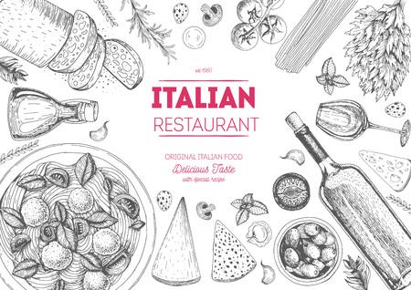 Italienische Küche Draufsicht Rahmen. Italienisches Essen Menü-Design. Vintage Hand Skizze Illustration gezeichnet.
