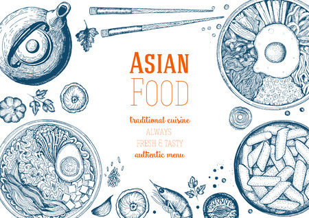 Asian Food Frame. Linear graphic. Reklamní fotografie - 69928088