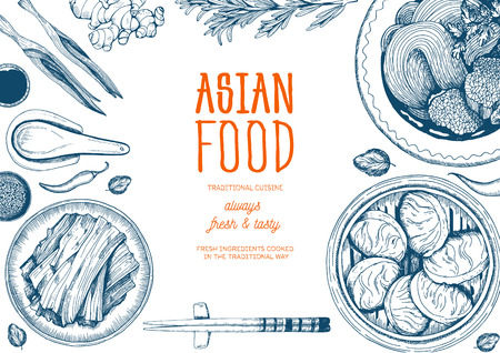 Asian food frame. Linear graphic.