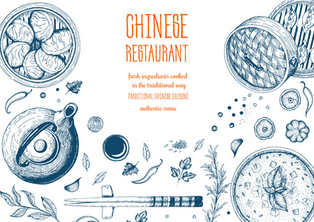 Telaio cibo asiatico. grafica lineare. Archivio Fotografico - 69928012