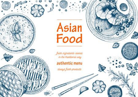 Marco de comida asiática. gráfico lineal.