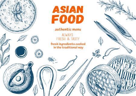 アジア食品のフレーム。線形のグラフィック。