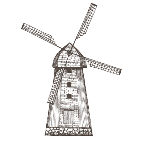 mill: Hand drawn illustration of a mill.