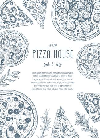 Illustrazione di cornice pizza vintage. Disegnato a mano con inchiostro Modello di design della pizza.