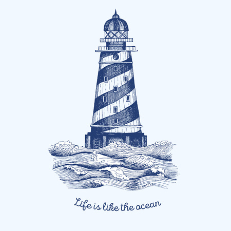 Lighthouse in the wave illustration, hand drawn ink design. Nautical theme illustration concept.