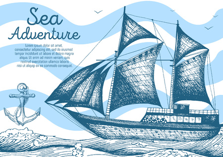 old ship: Nautical illustration drawn in ink. Frigate on the waves. Sea design template.