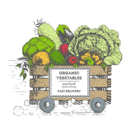 Szybka dostawa świeżych warzyw. Pudełko na kółkach z warzywami. Dostawa żywności ekologicznej. Obraz koncepcyjny, narysowany atramentem. Ilustracje wektorowe