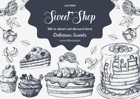 conception avec un gâteau dessiné encre main, crème glacée à la tarte et plaquettes. Vintage template pour le menu de la boulangerie ou un magasin de sweet home. Arrière-plan avec le dessert croquis. illustration dans le style linéaire rétro.