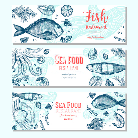 Seafood vintage design template. Horizontal banners set. illustration hand drawn linear art. Fish and seafood restaurant menu. Hand drawn sketch seafood banners Vectores