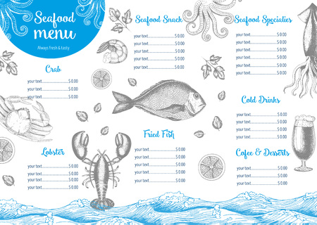 Vintage seafood menu design.illustration document template